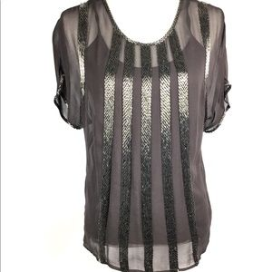 Cache Blouse XS Brown Beaded Sheer Party Cocktail